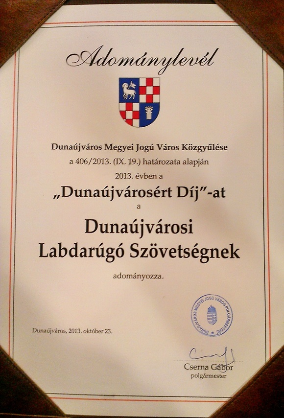 Dunaújvárosért díj 2013