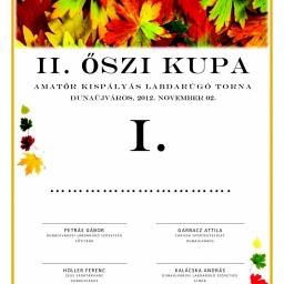 II. Őszi Kupa Oklevél