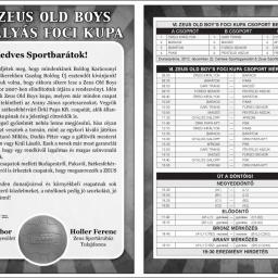 VI. ZEUS OLD BOYS KUPA programfüzet